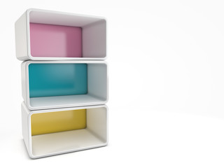 modern bookshelf with rounded corners