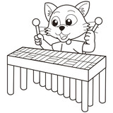 Cartoon Cat Playing a Vibraphone
