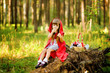 """girl eats pies. the fairy tale """" Red Riding Hood"""""""