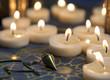 Mystische Szene mit Kerzen und Pendel