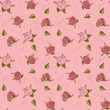 Pattern pink rose on a pink background