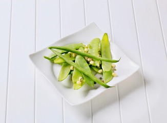 Green beans, mung beans and snow peas