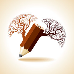 pencil with tree