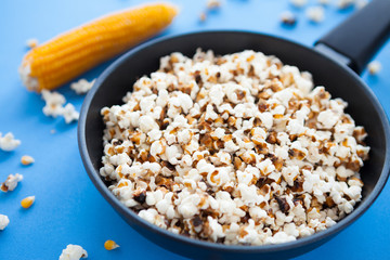 Delicious home cooking popcorn in a pan