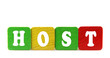 host - isolated text in wooden building blocks