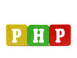 php - isolated text in wooden building blocks