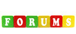 forums - isolated text in wooden building blocks