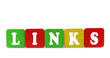 links - isolated text in wooden building blocks