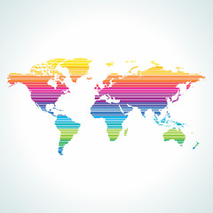 Digital world map design with stripe pattern.