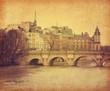 Leinwanddruck Bild - Seine.Pont Neuf in central Paris, France. Photo in retro style.