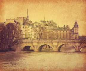 Seine.Pont Neuf in central Paris, France. Photo in retro style.