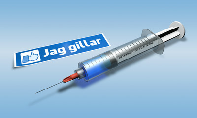 a syringe for internet addict with a message in swedish