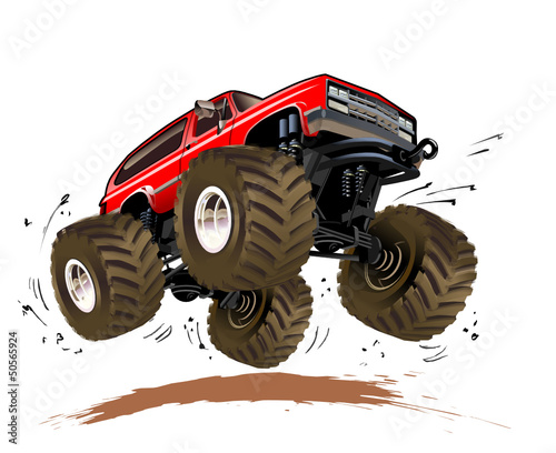 Keuken foto achterwand Cartoon cars Vector Cartoon Monster Truck