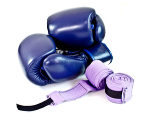 blue boxing gloves with handwrap