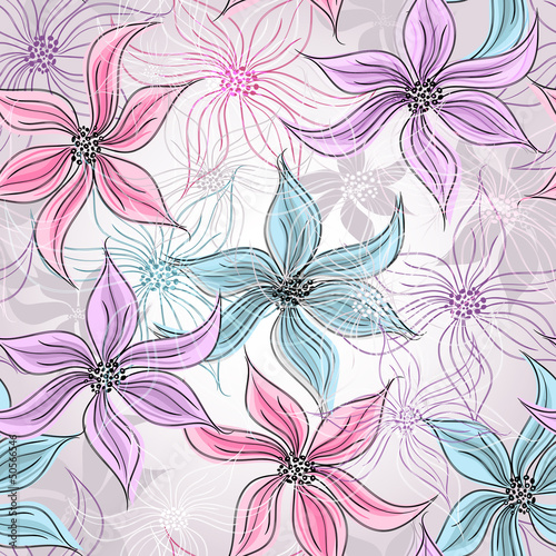 Tuinposter Abstract bloemen Seamless spring floral pattern