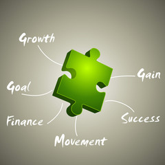 Vector growth, gain, goal  made from green puzzle pieces