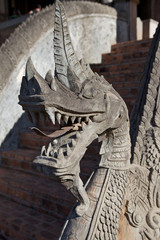 Detail of stone dragon at Haw Pha Kaeo temple in Vientiane, Laos