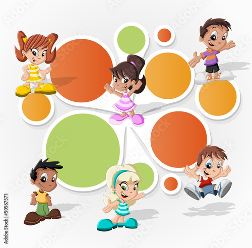 Colorful template with a group of six cartoon children