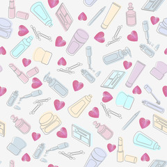 Cosmetics and beauty products with hearts
