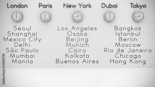 World Clocks and Big Cities Background
