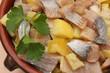 Hareng fumé aux Pommes vapeur et Citron confit