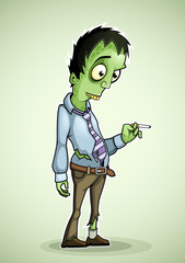 Office zombie with a cigarette