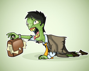 Office zombie crawls with a briefcase in hand