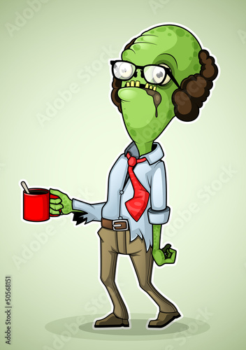 Office zombie with a mug of coffee