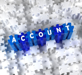 Creative 3D pieces of puzzle and word ACCOUNT