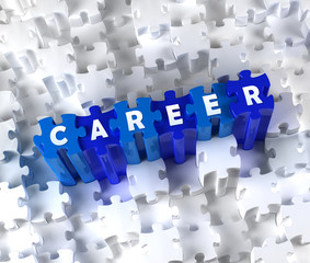 Creative 3D pieces of puzzle and word CAREER