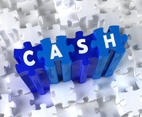 Creative 3D pieces of puzzle and word CASH