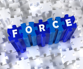 Creative 3D pieces of puzzle and word FORCE
