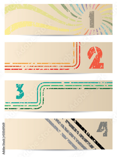 Retro banner set with gradation