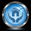 home in hands. Internet button. Vector illustration.