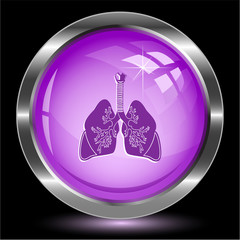Lungs. Internet button. Vector illustration.