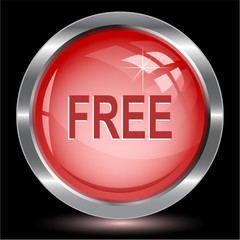 Free. Internet button. Vector illustration.