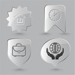 Education icon set. Protection world, clock, briefcase, library.