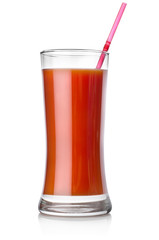 Tomato juice and straw