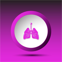 Lungs. Plastic button. Vector illustration.