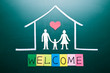 welcome word and Family in house
