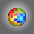 Pixel art. The multi-colored sphere on a gray background