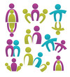 vector set of people, family and happiness, bright color, right