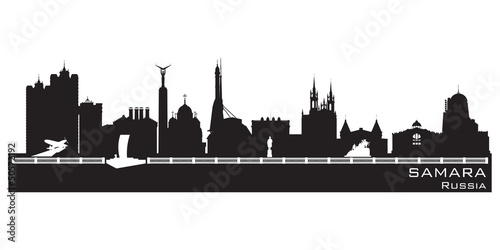 Samara Russia city skyline Detailed silhouette