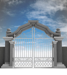 cemetery gate with metallic fence, dark enening