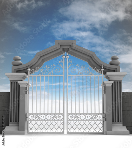 cemetery gate with metallic fence, dark enening