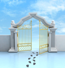 opened golden entrance with footprints and sky