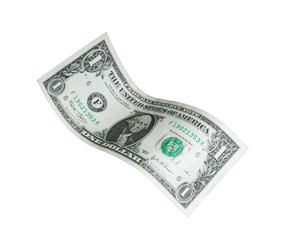 Billete de un dólar en fondo blanco.