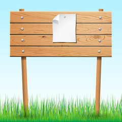 Wooden sign with paper sheet on green grass. Vector illustration