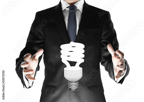 businessman with lamp