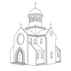 line art ancient basilica drawing vector